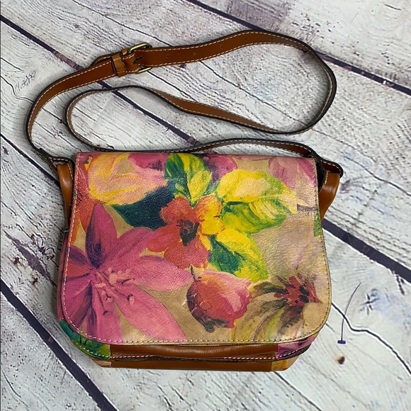 Patricia Nash Floral Leather Crossbody satchel